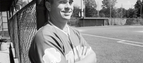 Needham native Hal Carey, head baseball coach at Catholic Memorial in West Roxbury, can't stop playing the game. Eight years after hanging up his Harvard uniform (below), Carey is the shortstop for the Stockyard Club in the Boston Park League.