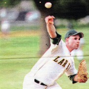 Zach Soolman unleashes a pitch during his comeback start with Larkin Club after Tommy John surgery.