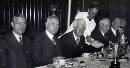 1933 Boston Park League Banquet. From L to R: American League President Will Harridge, Red Sox owner Bob Quinn, Commissioner of Baseball Judge Kenesaw Mountain Landis, Boston Parks Commissioner William Long, Boston Director of Recreation, William Mullen. Courtesy Mrs. Joan (Cusick) Morrissey