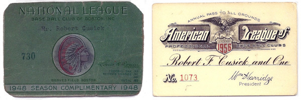 Bob Cusick's Braves Field pass and Pass to All American League Ballparks. Courtesy of Mrs. Joan (Cusick) Morrissey.