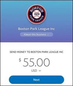 Park League - PayPal Payment