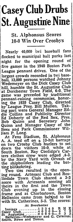 Casey Club Drubs St. Augustine Nine