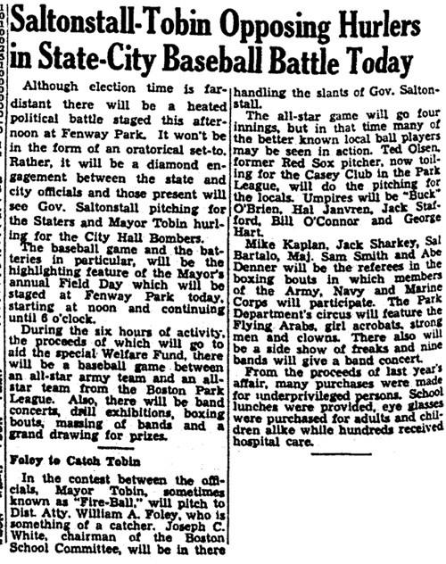 Saltonstall-Tobin Opposing Hurlers In State-City Baseball Battle Today