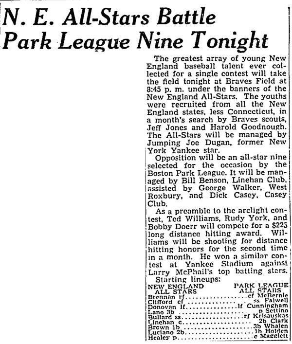 N. E. All-Stars Battle Park League Nine Tonight