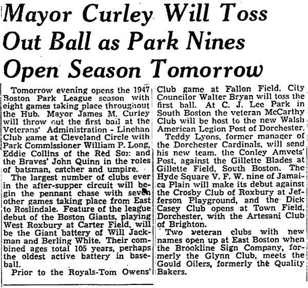Mayor Curley Will Toss Out Ball As Park Nines Open Season Tomorrow