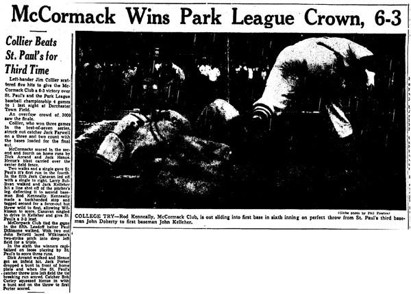 McCormack Wins Park League Crown, 6-3