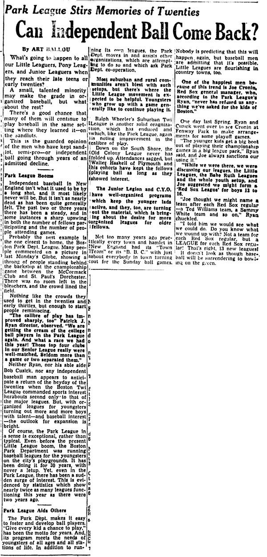 Park League Stirs Memories Of Twenties