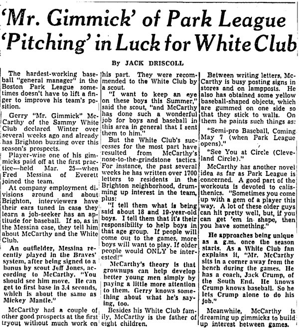 'Mr. Gimmick' Of Park League 'Pitching' In Luck For White Club