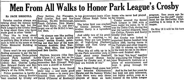 Men From All Walks To Honor Park League's Crosby