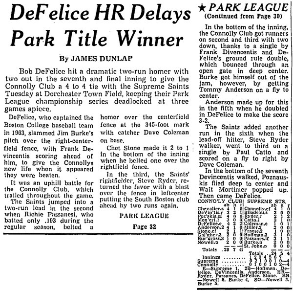 Defelice HR Delays Park Title Winner