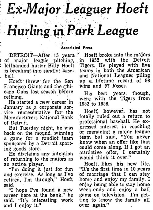 Ex-Major Leaguer Hoeft Hurling In Park League