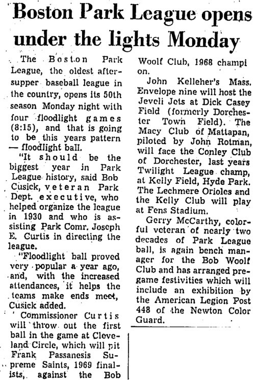 Boston Park League Opens Under The Lights Monday