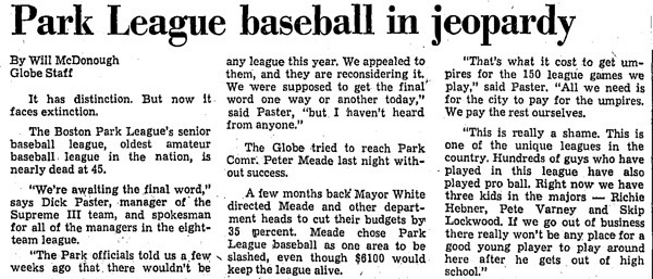Park League Baseball In Jeopardy