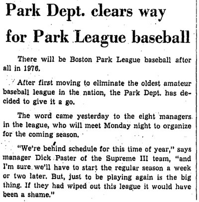 Park Dept. Clears Way For Park League Baseball