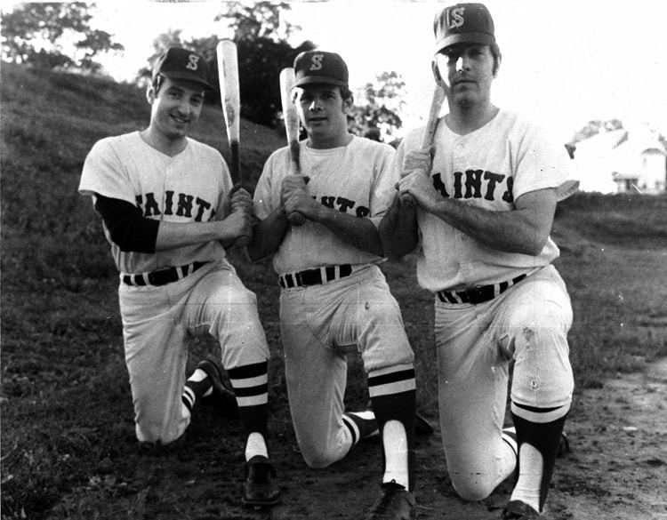 Dick Paster, Jim Laneau and Jim Petteruti in the Saints outfield in the early 70's.