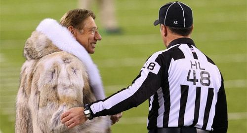 Joe Namath talks with head linesman Jim Mello before Super Bowl XLVIII at MetLife Stadium. (c) Ed Mulholland, USA Today Sports.