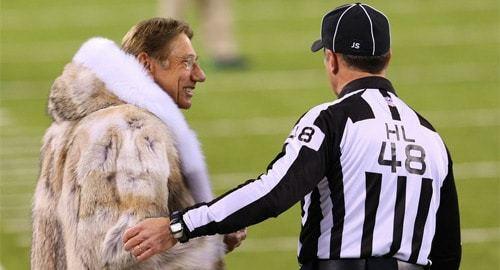 Joe Namath talks with head linesman Jim Mello before Super Bowl XLVIII at MetLife Stadium. (c) Ed Mulholland, USA Today Sports.