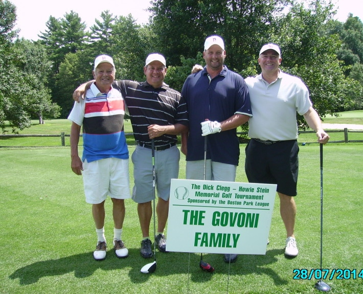 Winners of the 15th Annual Dick Clegg - Howie Stein Memorial golf Tournament: Norm Govoni, Scooter Govoni, Greg Dowd, & Dan Donato.