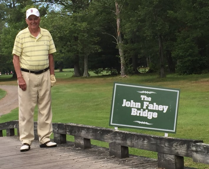 Jack Fahey, BPL Hall of Fame 1995, age 82, member of the Easton Country Club, with bridge on 15th fairway named after him.